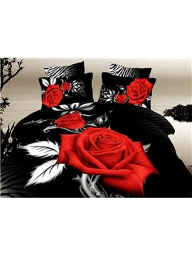Bright Red Rose with Black Ground Print 4-Piece Duvet Cover Sets