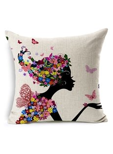 The Angel Girl In Flowers  Printing Throw Pillow