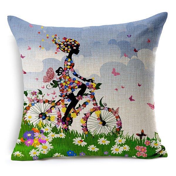 The Girl Riding a Bike Printing Throw Pillow