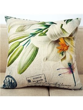 Beautiful 3D White Lily Print Throw Pillow