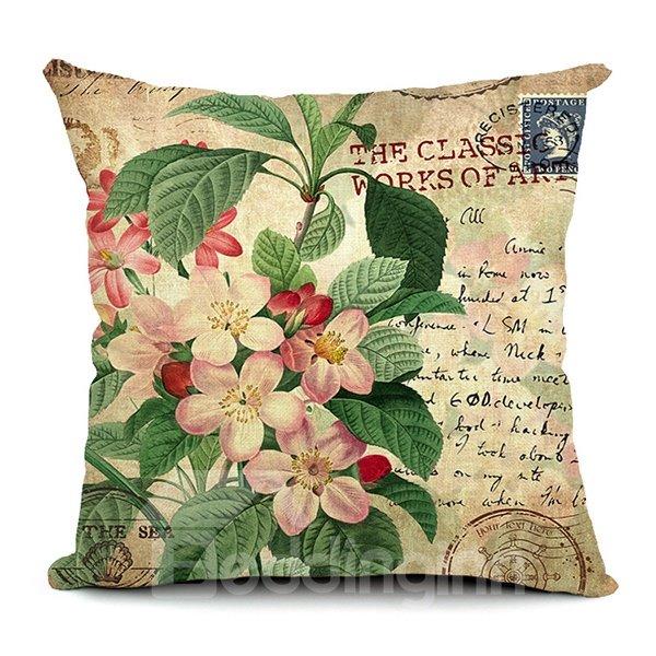 Peach Flowers Printing Throw Pillow