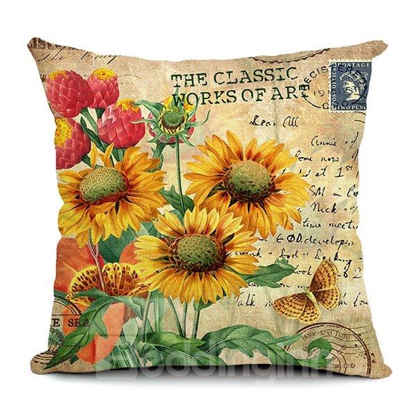 Sunflowers Printed Retro Style Throw Pillow