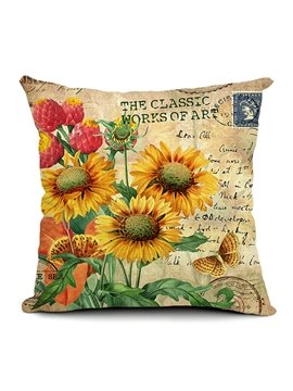 Sunflowers Printed Retro Style Throw Pillow
