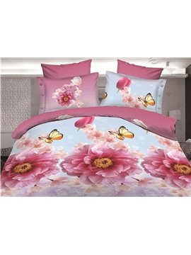 Pink Flower and Butterfly Print 4-Piece Polyester Duvet Cover Sets