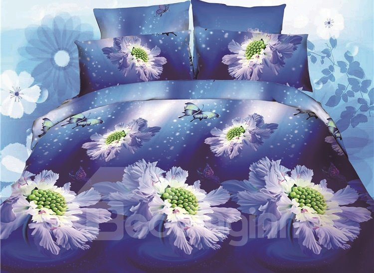 Wonderful Flower Print 4-Piece Polyester Duvet Cover Sets