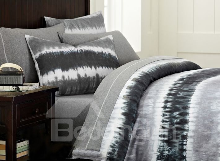 Charcoal Grey Oil Painting 3-Piece Cotton Duvet Cover Sets