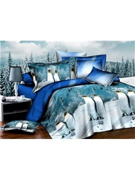 Penguin on Snow Print 4-Piece Polyester Duvet Cover Sets