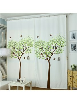 Korean Style Pastoral Lovely Tree Print One Piece Curtain