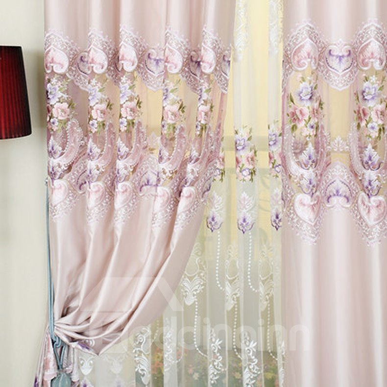 Top Class Elegant Floral Pattern Embroidery Grommet Top Curtain