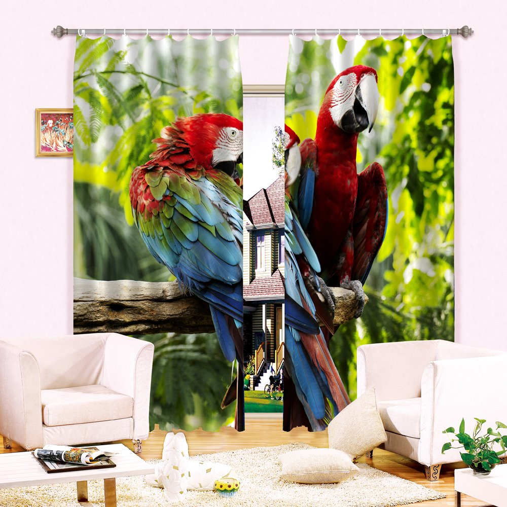High Quality Vivid Parrot Printing 3D Curtain
