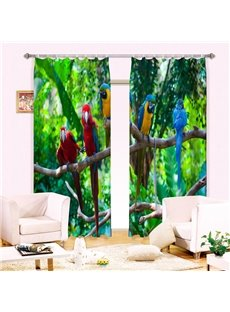 Lifelike Colorful Parrots on Branches Printing 3D Curtain