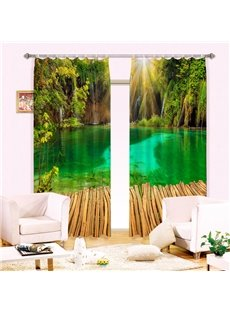 Serene Lake and Green Forest Printing 3D Curtain