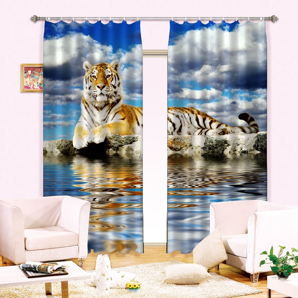Amazing Lifelike Tiger Print Energy Saving 3D Curtain