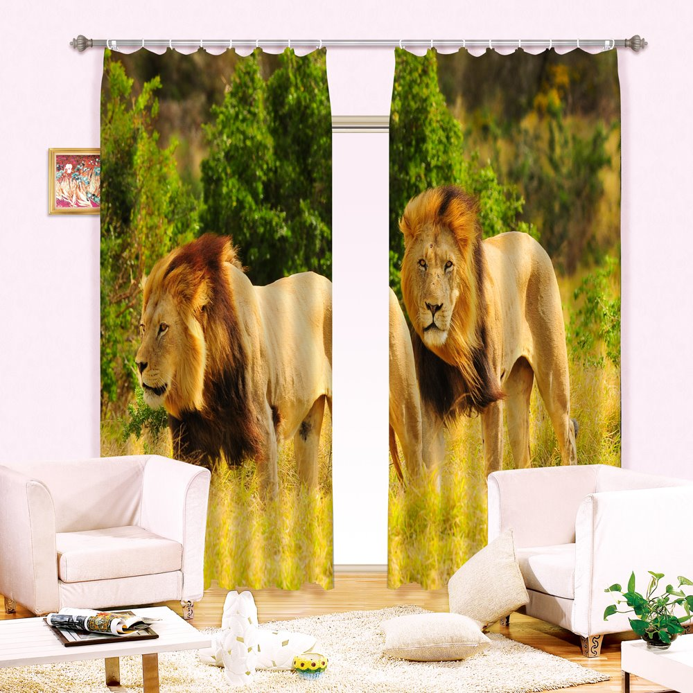High Quality Lion Print Light Blocking 3D Curtain
