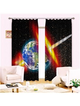Magnificent Planet Stars Print Energy Saving 3D Curtain
