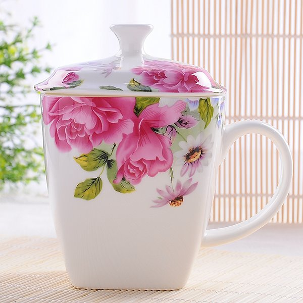 Elegant Pretty Royal Flower Bone China Coffee Mug