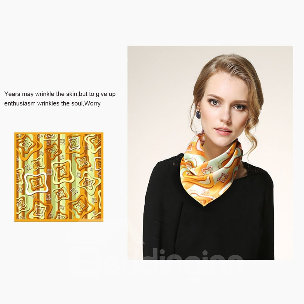 Wild Geometric Pattern Mulberry Silk Square Scarf