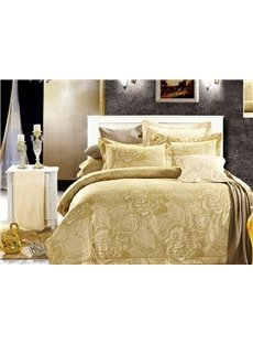 Luxury Peony Print 4-Piece Polyester Duvet Cover Sets