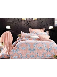 Ogee Leaves Print 4-Piece Polyester Duvet Cover Sets