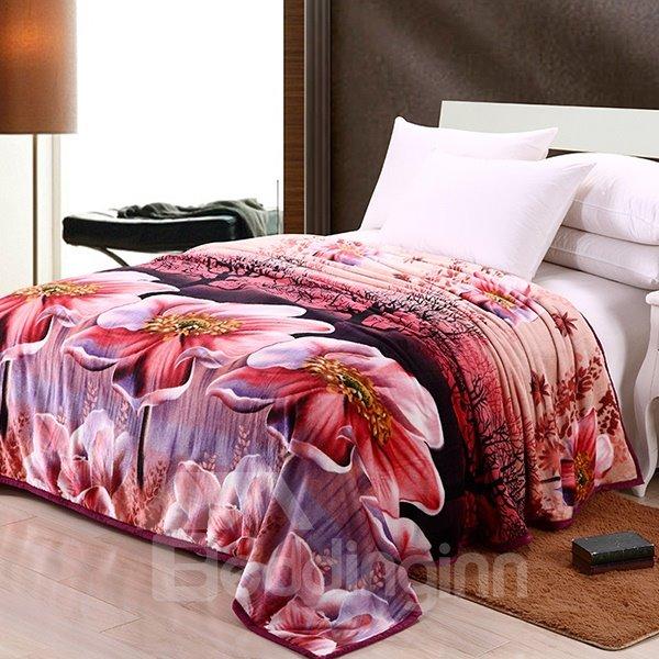 New Arrival Jasmine Nudiflorum Printing Cheap Flannel 3D Blanket