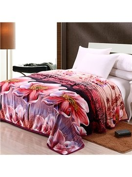 New Arrival Jasmine Nudiflorum Printing Cheap Flannel 3D Blanket