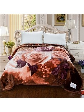 New Arrival Coffee Peonies Printed 3D Blanket