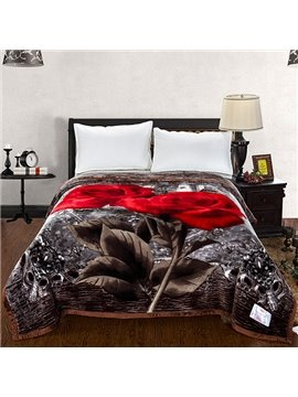 New Arrival Gray Space and Roses Printed 3D Blanket
