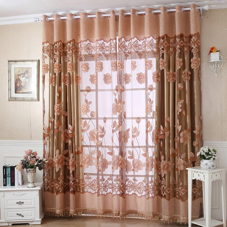 Luxury Golden Floral Printing Champagne Sheer & Shading Cloth Curtain Set