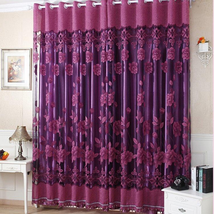 Amazing Deep Purple Floral Printing Sheer & Shading Cloth Curtain Set