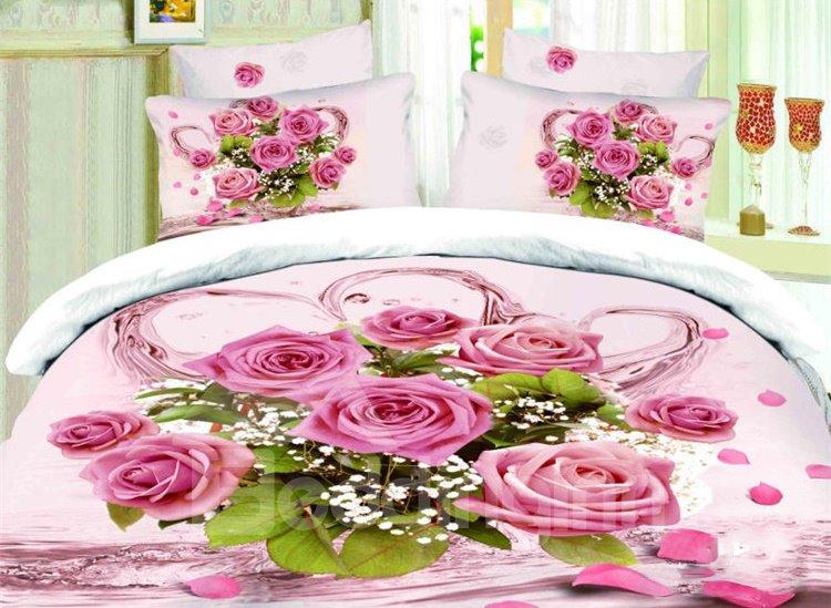 Bouquet Of Rose Print 4-Piece Cotton Duvet Cover Sets