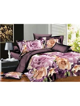 Sweet Flower and Fruit Print 4-Piece Polyester Duvet Cover Sets