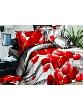 Fire Red Tulips Print 4-Piece Polyester Duvet Cover Sets
