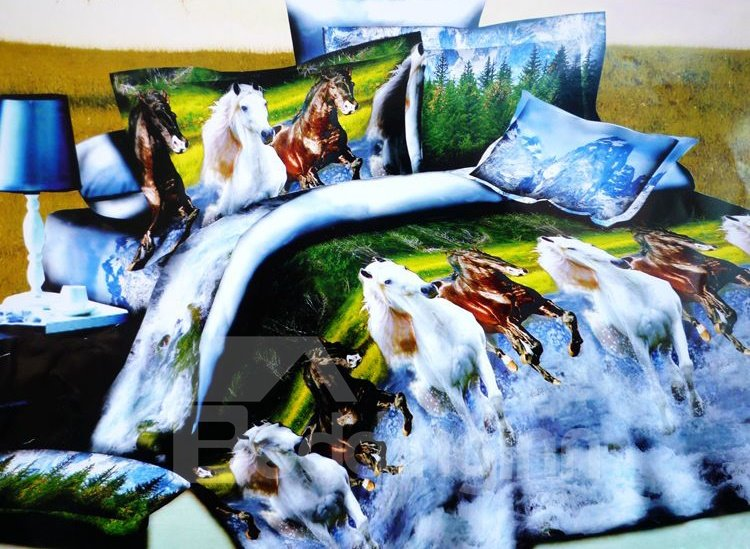 Horses Running Through River Print 4-Piece Polyester Duvet Cover Sets