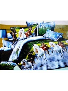Horses Running Through River Print 4-Piece Polyester Duvet Cover Sets