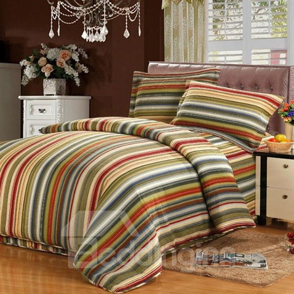 High Quality Stripes Printing Retro Style Bed in a Bag Set 11313228