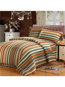 High Quality Stripes Printing Retro Style  Bed in a Bag Set