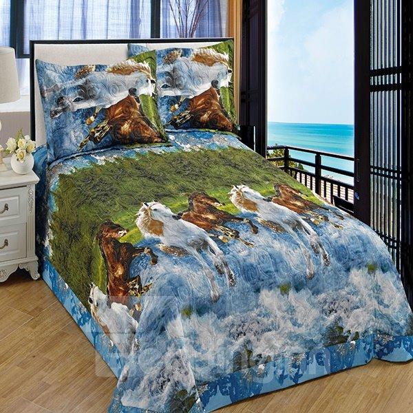 High Quality Vivid Horses Printing 3-Piece Bedding Set