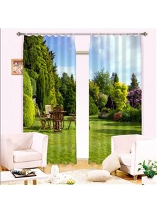 Elegant Green View in the Yard Printing 3D Curtain