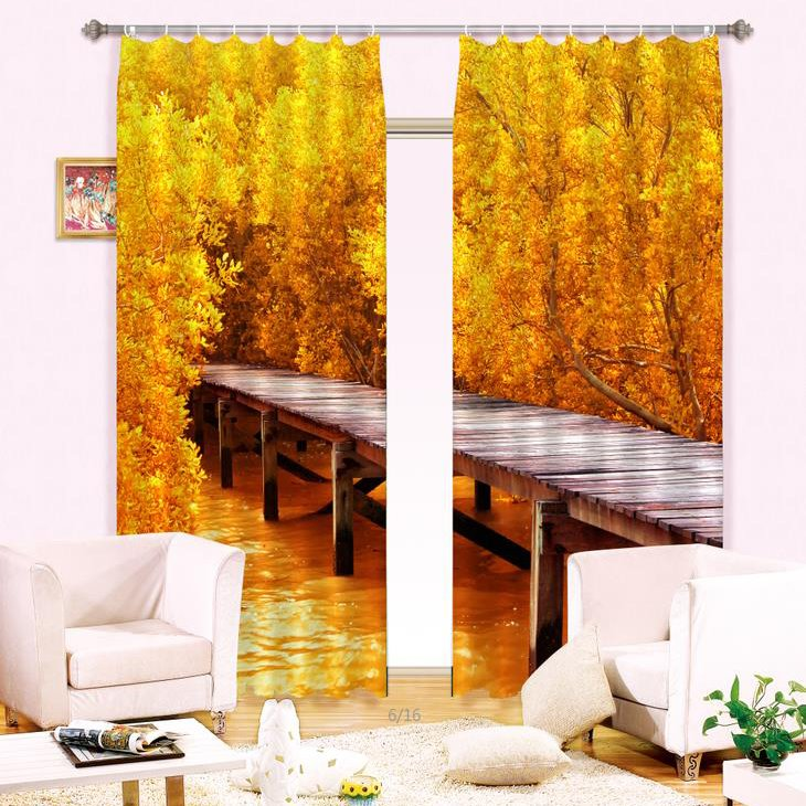 Hot Selling Timber Bridge Golden Wood Print Blackout 3D Curtain