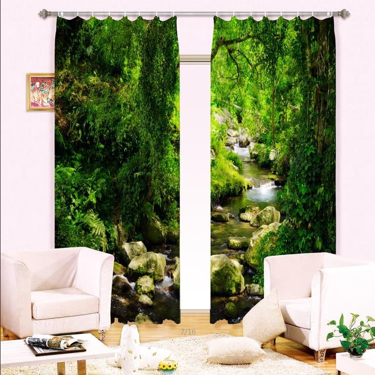 Creek in Green Forest Print 3D Curtain