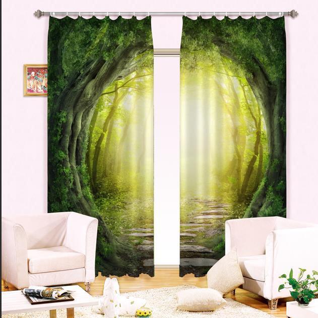 Illusional Woodland Corridor Print Blackout 3d Curtain
