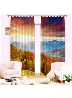 Splendid Forest Mountain Printing Energy Saving 3D Curtain