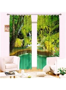 Green Forest Waterfall Print Energy Saving 3D Curtain
