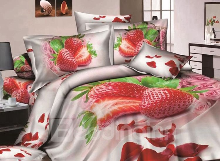 Strawberry and Rose Petal Print 4-Piece Cotton Duvet Cover Sets