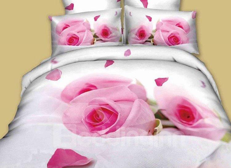 Enchanting Pink Rose Print 4-Piece Cotton Duvet Cover Sets