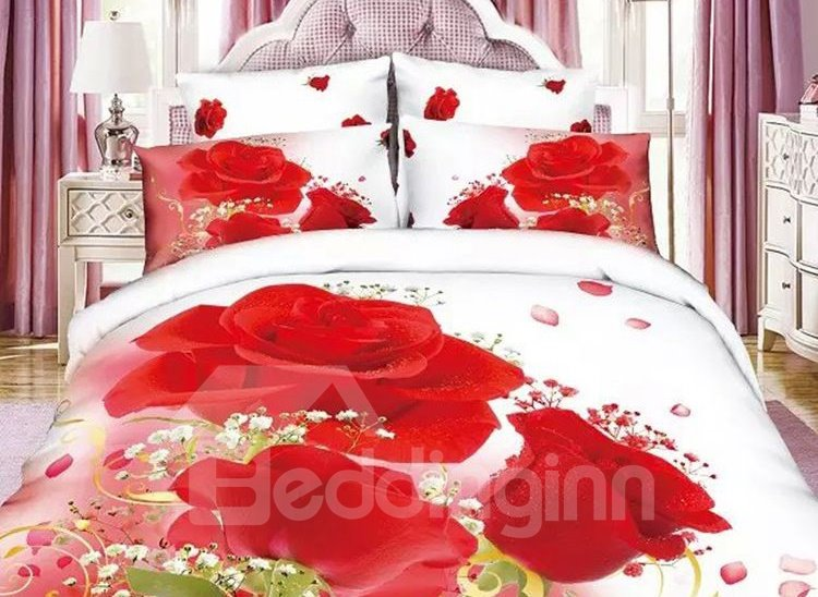 Fancy Red Rose Print 4-Piece Cotton Duvet Cover Sets 11314581