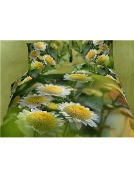 Tender Daisy Print 4-Piece Cotton Duvet Cover Sets