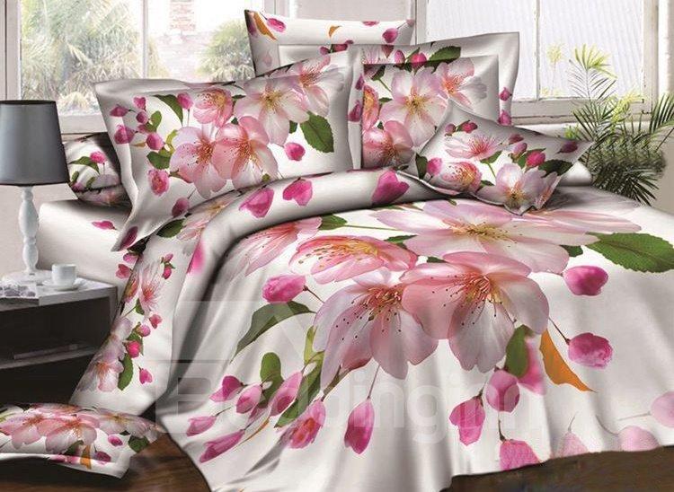 Delicate Peach Blossom Print 4-Piece Cotton Duvet Cover Sets 11314587