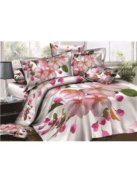 Delicate Peach Blossom Print 4-Piece Cotton Duvet Cover Sets