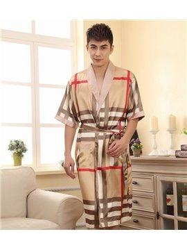 New Style Summer Sumptuous Casual  Grid Men's Bathrobe